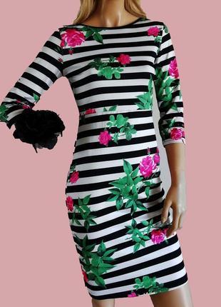 Платье в полоску в стиле dg , принт цветы , окрытая спинка lipsy