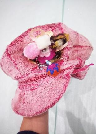 52-54 р. новая зимняя шапка-кепка-берет с ушками и брошкой, цвета разные tu tu