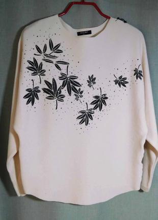 Нежно-розовый нарядный свитер hostar шерсть мериноса, кашемир два размера,  m-l и  xl- xxl