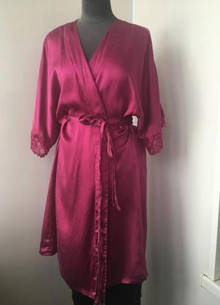Роскошный шелковый халат, натуральный шелк с французским кружевом
