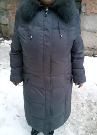 Пуховик пальто с мехом 56-58р