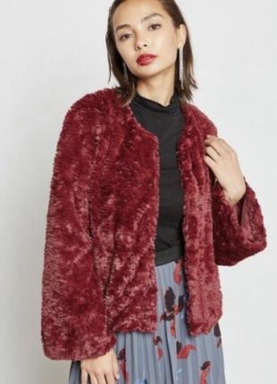 Жакет плюшевый стильный винного цвета vero moda