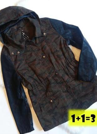 Atm парка кожаные рукава l-xl коричневая хаки милитари джинсовая пальто куртка косуха