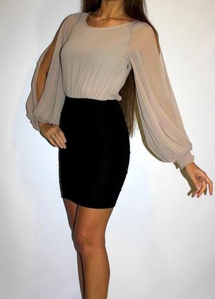 Утягивающее бандажное платье - верх шифоновый