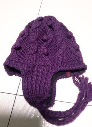 Очень теплая шапка с ушками и на подкладке размер 57/58
