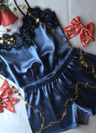 Атласная пижама с кружевом. размеры м и л