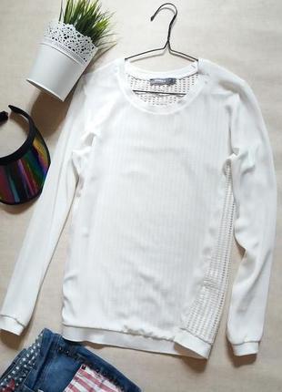 Стильная белая кофта блуза с сеточкой на спинке studio anneloes