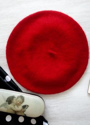 Берет вишнёво-красный, парижский шик!