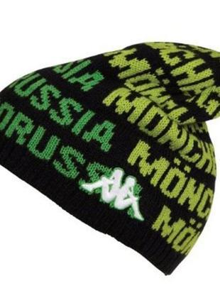 Оригинал зимняя плотная шапка высокая зелёная borussia kappa