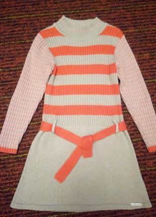 Супер платье в полоску вязаное