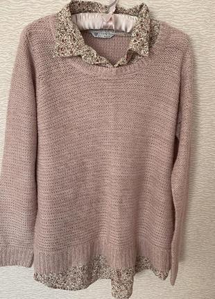 Свитер с имитацией рубашки love knitwear