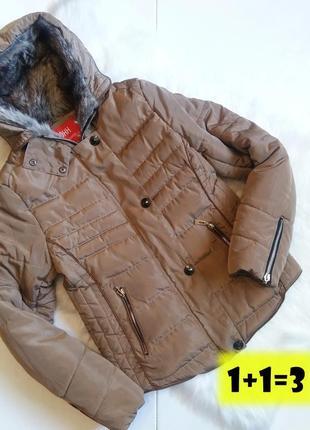 Ohh теплая стильная куртка м 46рр коричневая с капюшоном стеганая дутая тренд