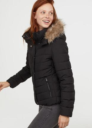 Стильная куртка стеганая s-m черная дутая синтепон курточка капюшон парка пальто