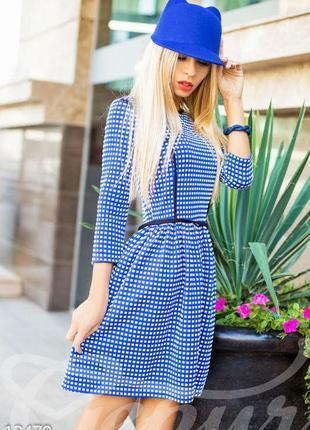 Жаккардовое синее платье / жакардова синя сукня