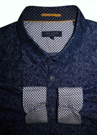 Мужская рубашка в узорчик цветочек синяя лен ted baker xl