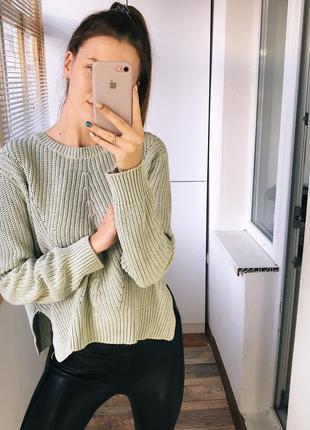 Мятный оверсайз свитер h&m