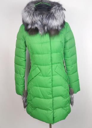 Яркая зеленая куртка visdeer 7017, натуральный мех