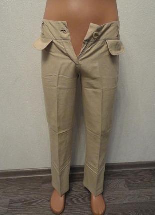 Брюки, штаны прямые классические, бежевые лен