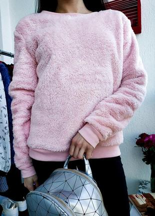 Шикарный пушистый свитшот чебурашка george нежного розового цвета