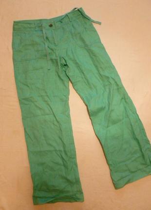 Мятные стильные льняные брюки 100% лен хороший размер