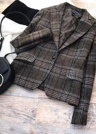 Шерстяной эксклюзивный пиджак в клетку gant