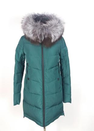 Яркая зеленая куртка visdeer 7179, натуральный мех
