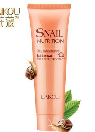 Гель пенка для умывания laikou snail nutrition essence multieffects extract