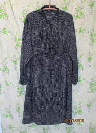 Шикарное шифоновое платье с воротником жабо/воланы большой размер гл 32/64-66