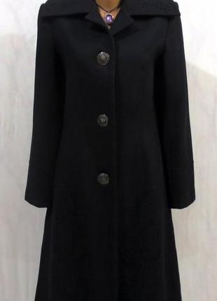 Шерстяное черное длинное пальто от orsay размер: 48-l