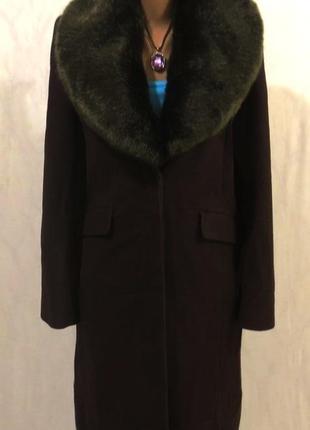 Роскошное шерстяное пальто от victoria с мехом соболя (отстегивается) размер: 54-xl, xxl