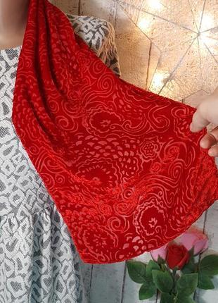 Красный бархатный велюровый шарф шарфик с цветочным узором