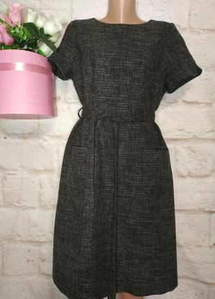 Платье миди элегантное теплое есть шерсть карманчики р 16-18 monsoon