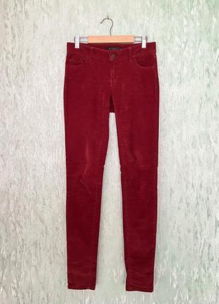 Женские бордовые вельветовые зауженные штаны colin's
