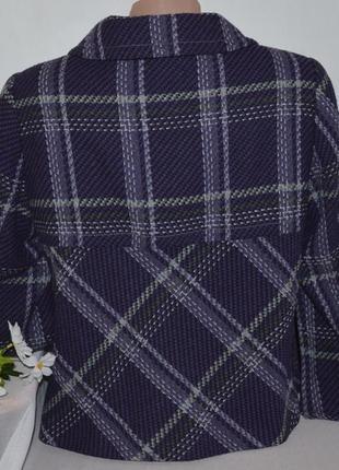 Брендовое фиолетовое демисезонное пальто полупальто в клетку marks&spencer турция шерсть2 фото
