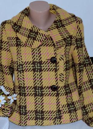 Брендовое демисезонное пальто полупальто с карманами в клетку cho won корея шерсть акрил