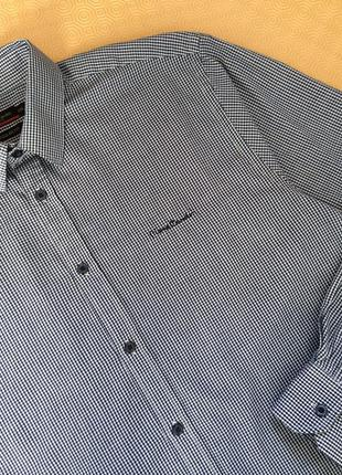 Тонкая клетчатая рубашка/рубашка в мелкую клетку/xxl/regular fit