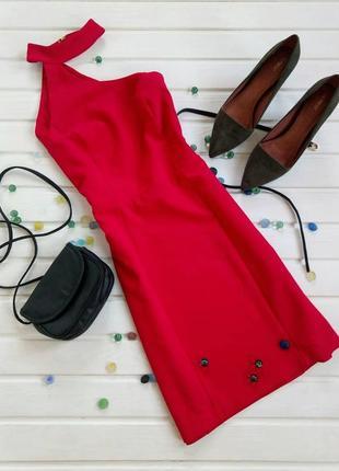Красное платье с чекером river island