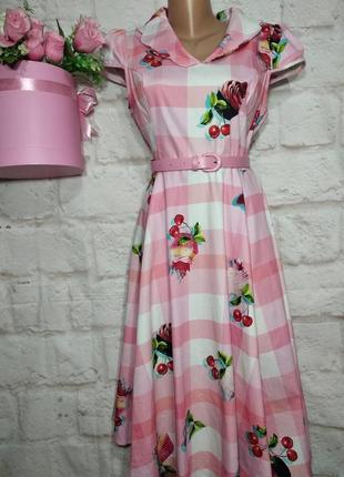 Платье миди коттоновое пышная юбка р 14 r&h