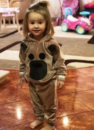 Милый мягкий велюровый барханый комплект костюм с мишкой для малышей цвета р.92-104