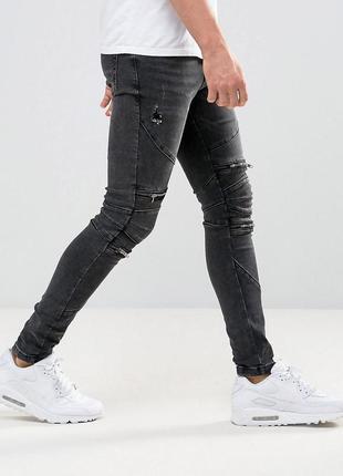 Стильные мужские джинсы байкерские скинни рваные с молниями, зауженные штаны эластичные