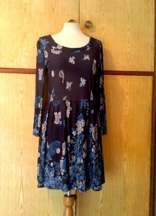Трикотажное  платье cинее с голубым, l.