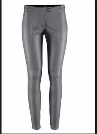 Кожаные серые брюки лосины леггинсы штаны кожзам