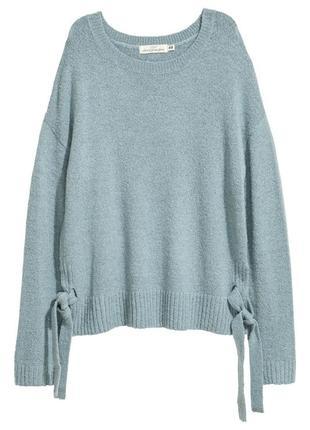 Красивый оверсайз свитер с завязками, джемпер, свитер свободного кроя