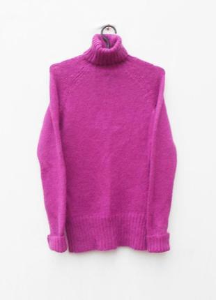 Зимний осенний вязанный мохеровый   теплый свитер под горло с длинным рукавом