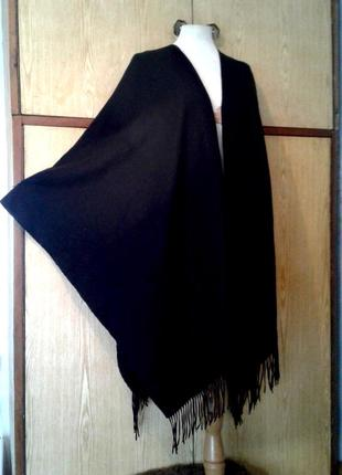 Черная пушистая накидка - кардиган с бахромой, м - 4хl.