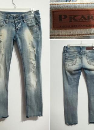Премиум джинсы с аккуратной рванкой, picara, италия, 26 р-р