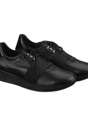 Стильные кожаные черные кроссовки 36-40р натуральная кожа