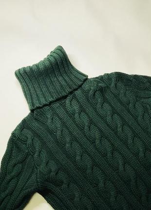 Зелёный свитер ralph lauren плетеный косами