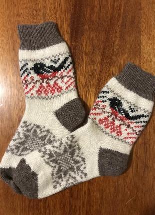 Очень тёплые зимние шерстяные носки с забавным принтом