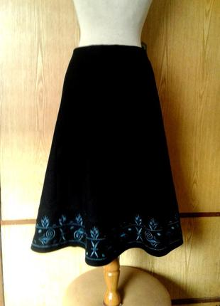 Чёрная  юбка из валяной шерсти  , l